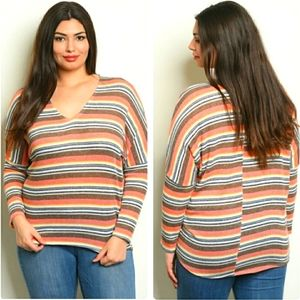 Zenobia blue and coral striped long sleeved top 3X